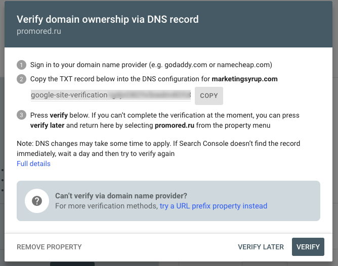 TXT entry in the DNS configuration
